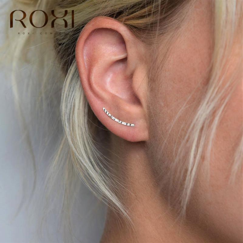Roxi Minimalist 925 gümüş küpe Düğün Takı Trendy Geometrik Kulak tarayıcılar Stud Küpe Kadınlar Hediye
