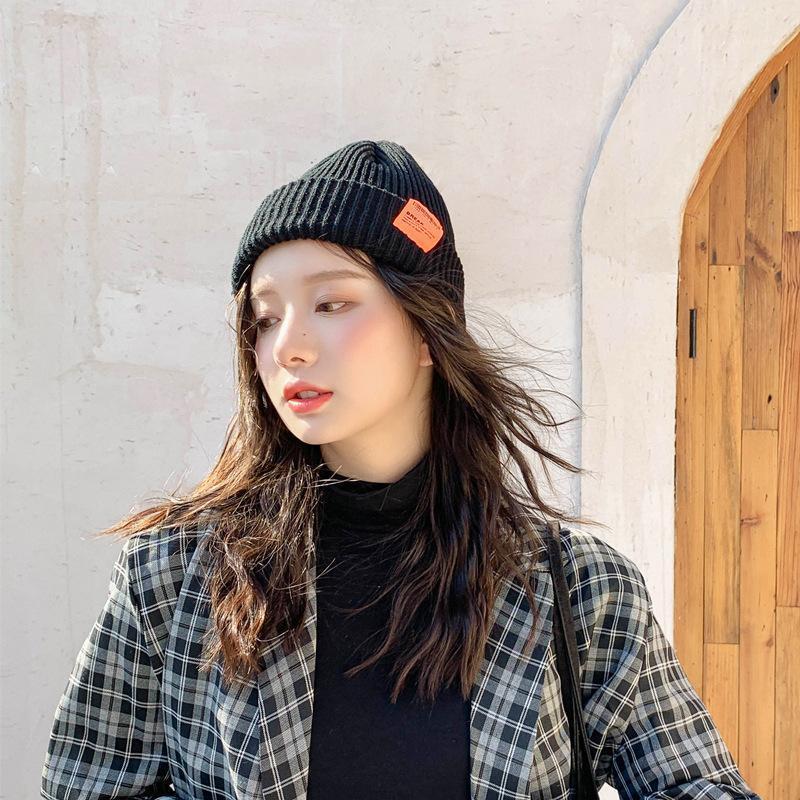 Inverno Cappello College Bar Codice Codice Etichetta di stoffa Moda Cappello di lana Femminile Autunno e Inverno Calda lavorato a maglia CAUSA MASCHIO CALDA1
