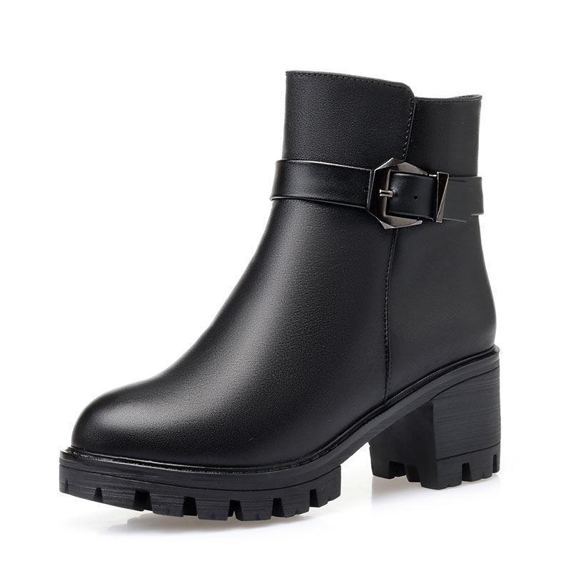 부츠 드롭 2021 여성 발목 가죽 PU 따뜻한 겨울 숙녀 신발