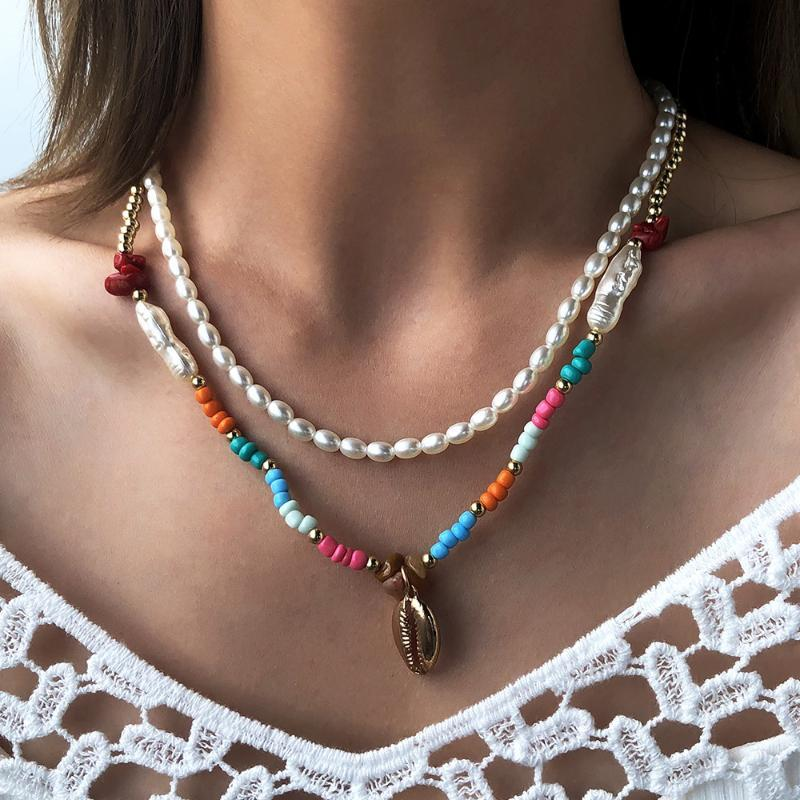 Collier perle baroque pour femmes Bohême Résine naturelle Perles Chaîne Collier Collier Vintage Joaillerie