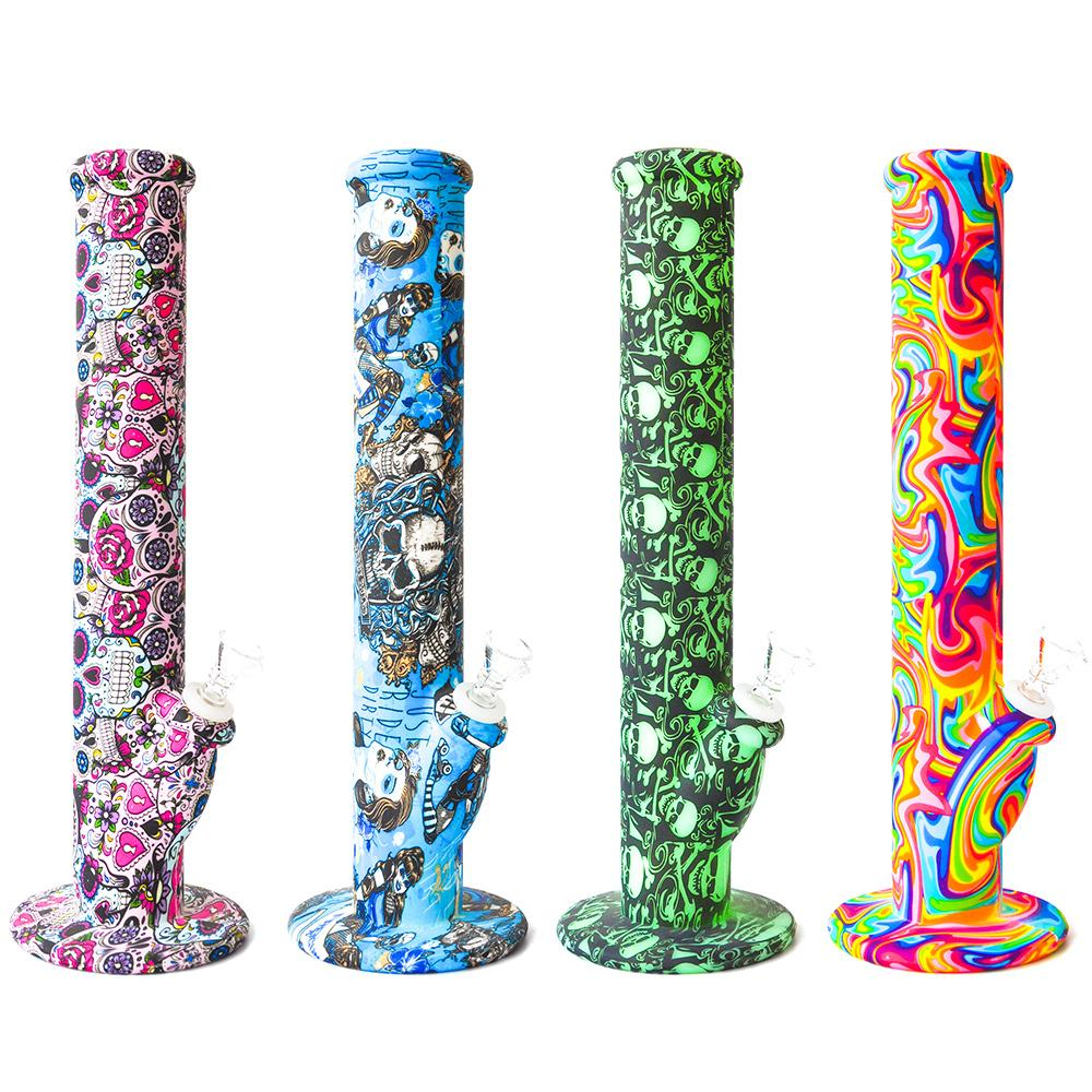 Skull non fading printing oil rig Silicone Water Bongs 14.4mm Joint Glass sets Glass bongs Free Shipping