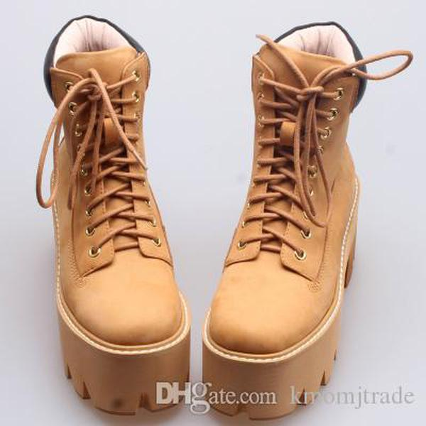 Kadın Jeffrey Brown Nirvana Boots Buğday Platform Topuk Chunky Alt Boot Campbell Gerçek Deri Nirvana Ayakkabı Dantel-up