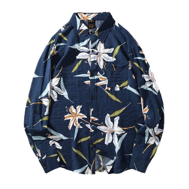 Camicie casual da uomo Feitang Fashion Floral Stampato Camicia da uomo Autunno Manica lunga Top Astuccio Camicetta
