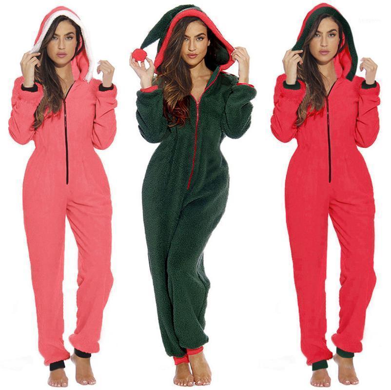 Женские комбинезоны Rompsers 2021 Pajamas Nightgown Женская зимняя спящая одежда длинные рукава плюс плюшевый толстый комбинезон с капюшоном