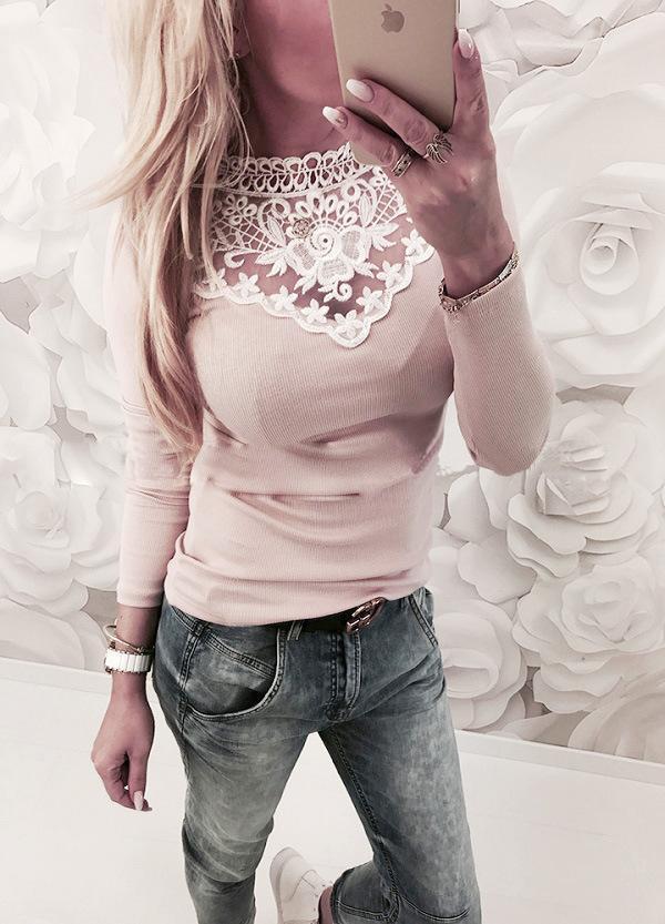 Frauen Blusen Hemden Frauen Warme Langarm Strickte Spitze Bluse Damen Tops Pullover Jumper Shirt