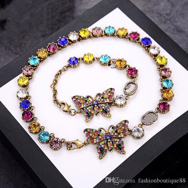 Luxus Designer Schmuck Frauen Halskette Blume Schmetterling Anhänger Halsketten mit Farbe Diamanten Messing Gold Armbänder Ketten Modeschmuck