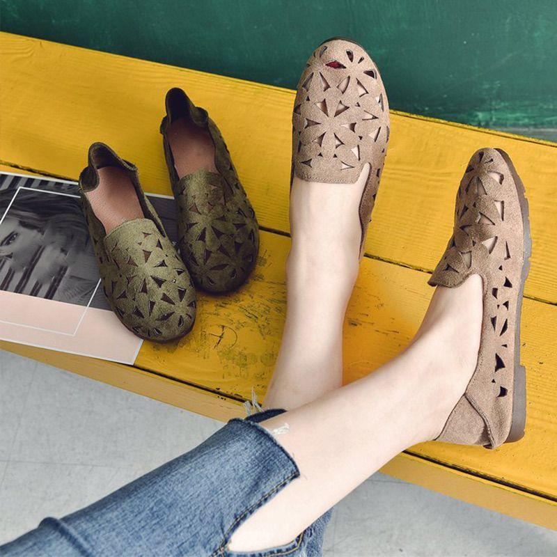 Sommer-Frauen flache Schuhe weiche beiläufige Loafers Female Ballerinas Süße Ausschnitt Suede Beleg auf Mokassins atmungsaktiv Damen Schuhe 1020