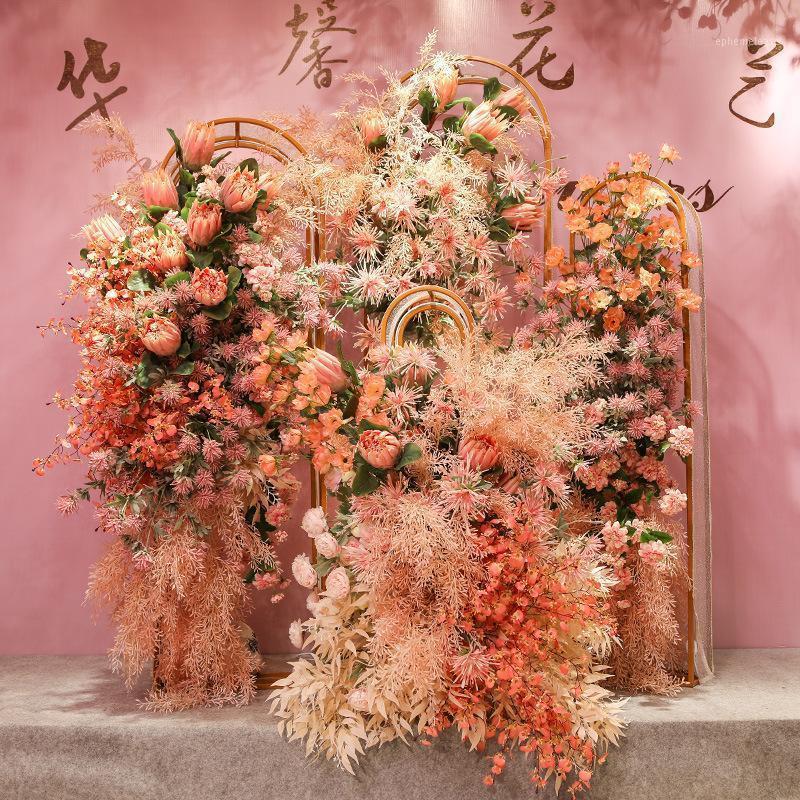 Boda flor artificial rosa decoración de boda Lu Yin Hua tema Arco artificial Arco de techo decorativo1