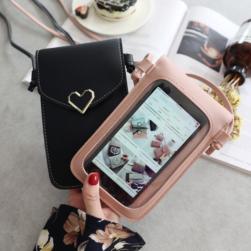 Touch Screen Cell Phone Purse Smartphone Wallet Leather Shoulder Strap Handbag Women Bag for X Samsung S10 Huawei P20 Woman and men Wallets