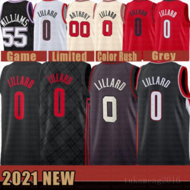 2021 New Damian 0 Lillard Basketball Jersey CJ 3 McCollum Homens Carmelo 00 Anthony Jason 55 Williams Malha Retro Deaaron 5 Fox Orange