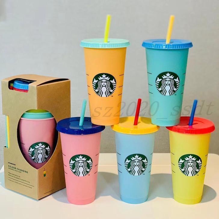 Coupe de 24 oz Changer de gobelets en plastique et de jus tasse tasse à lèvres Paille en plastique de paille café Starbucks Court Court Couleur Changer de magie avec Axkrl