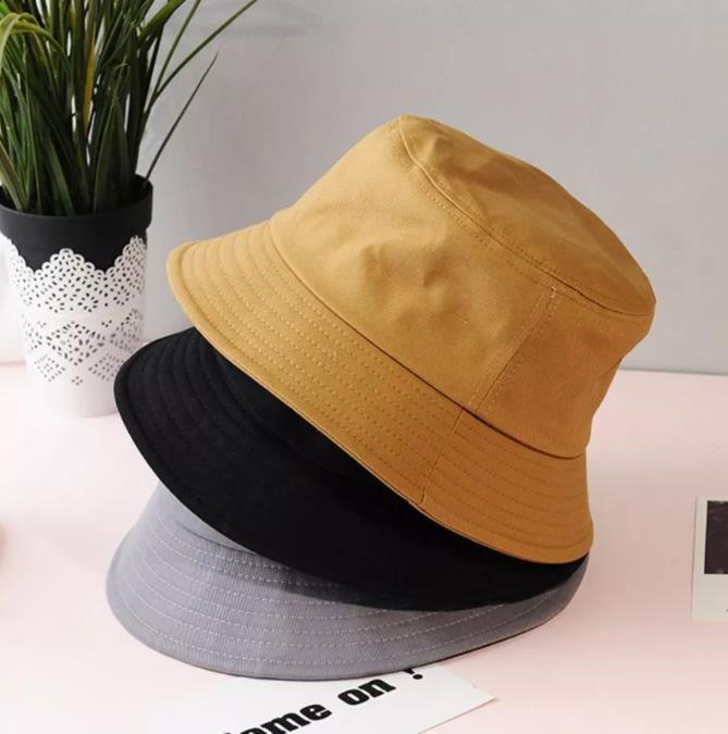 Corea niños de verano para adultos plegable del sombrero del cubo del color sólido de Hip Hop de ala ancha playa protección UV protector solar Round Top Cap Pescador