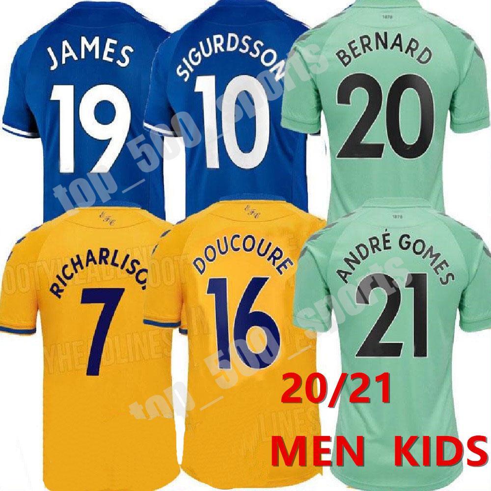 2020 2021 남자 키즈 19 James Richarlison 홈 멀리 세 번째 축구 유니폼 Doucoure Bernard 20 21 Sigurdsson Jersey Calvert-Lewin 축구 셔츠