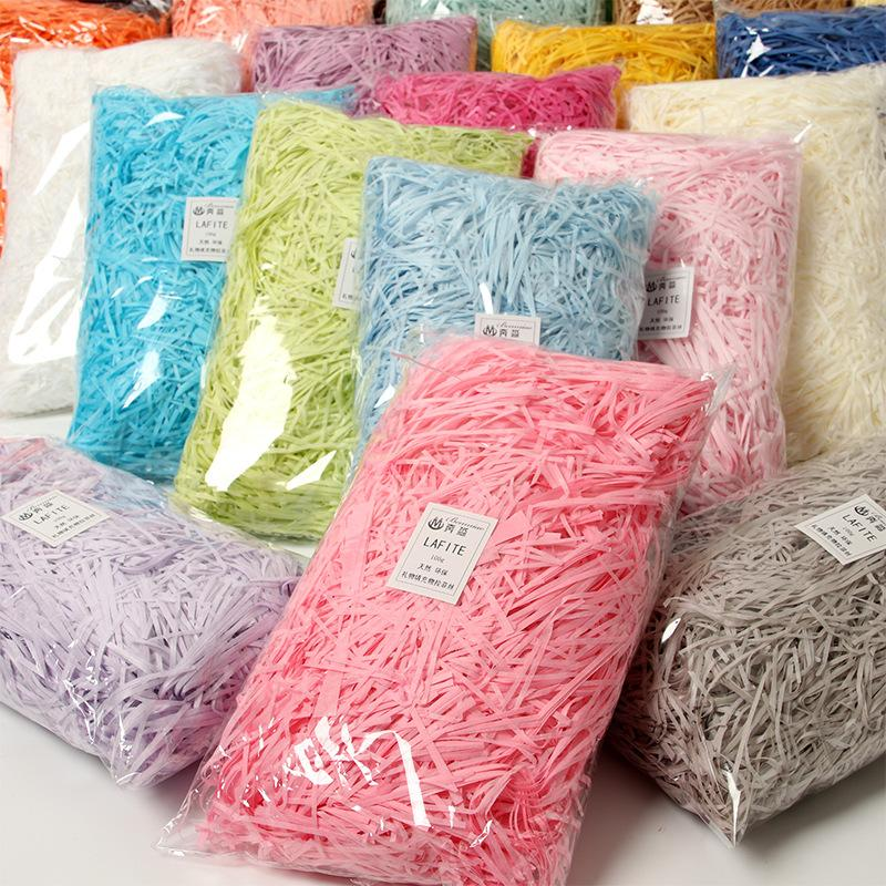 100 g / paket rafya parçalanmış kağıt hediye kutusu doldurma wrap yaratıcı düğün dekorasyon malzemeleri ücretsiz DHL için
