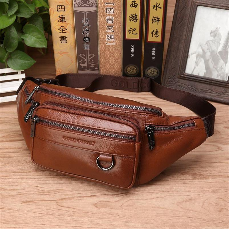 Men Genuine Leather Waist Chest Bags Pouch Single Shoulder Cross Body Bags High Quality Natural Skin Hip Bum Fanny Belt Pack