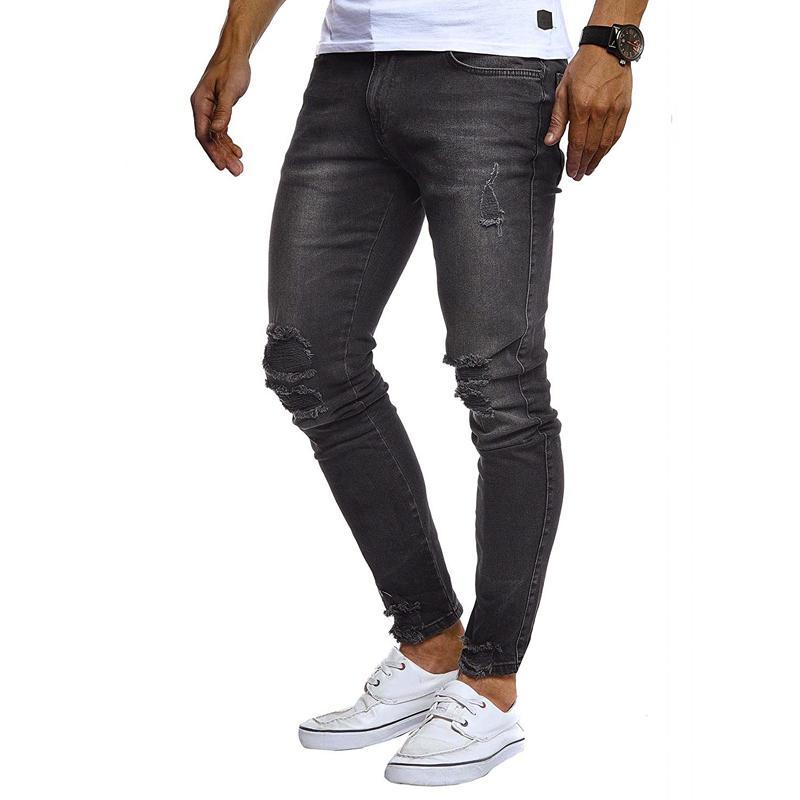 Hole Тонкий Мужские дизайнерские джинсы весна осень Сплошной цвет Мужчины Брюки High Street Casual Горячие Продаем штаны