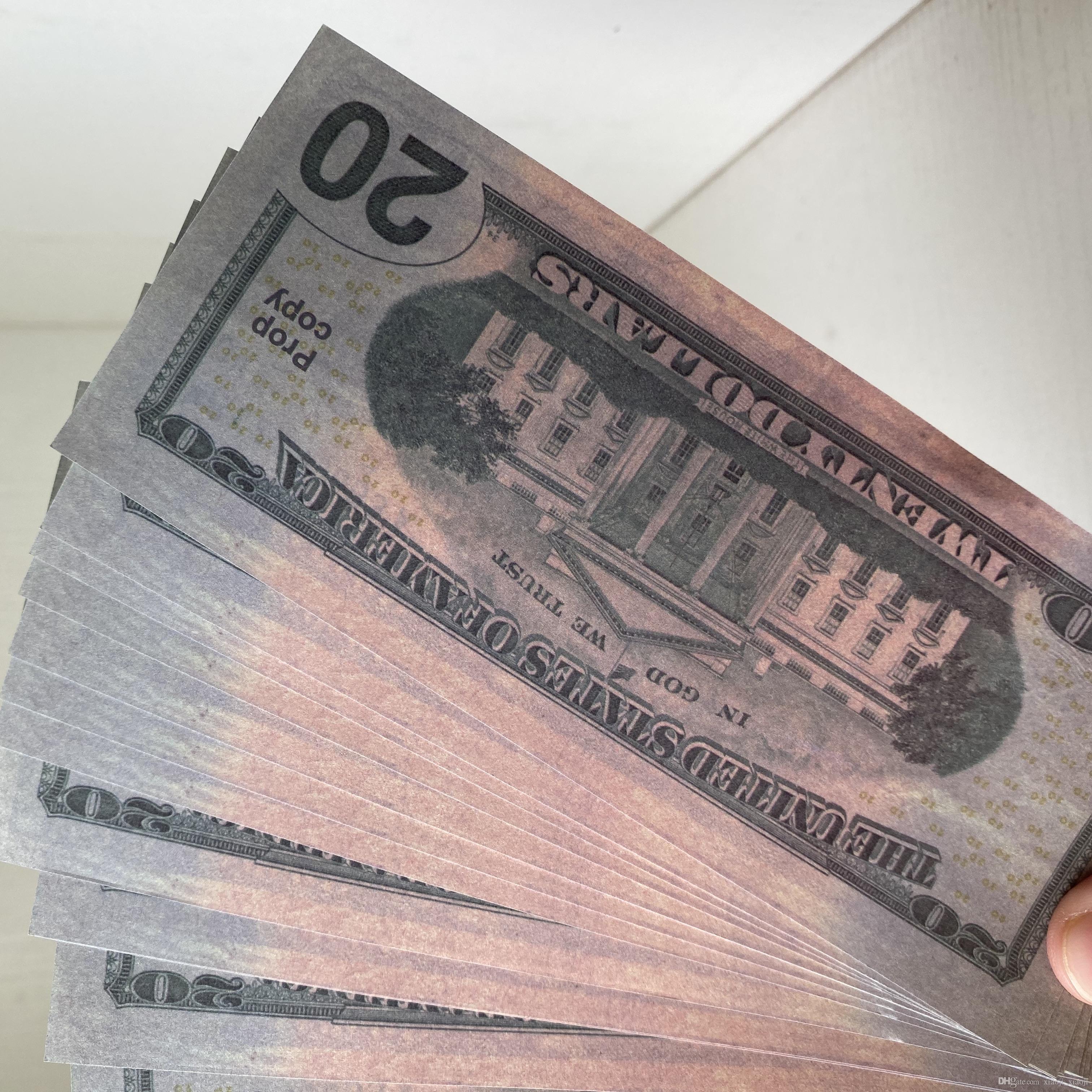 MEJOR DINERO 021 QUIERE CASA Venta al por mayor Fake Money Dollor Fake 20 for Kids Money Video Movie película Cuenta de la película Decoración DMJUW