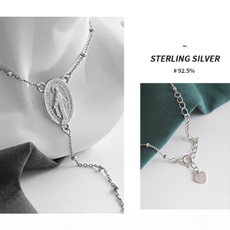 Solide 925 Sterling Argent Rosaire Perle Vierge Marie Collier Collier Femmes 2mm Perles d'argent Pendentif Collier Silver 45cm