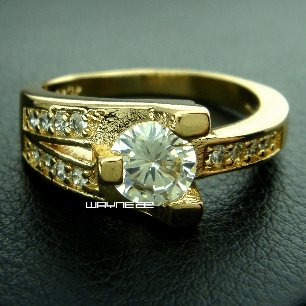 18k Gold überzogene Frau Verpflichtungs-Hochzeit weiß Saphirring SZ8 R222