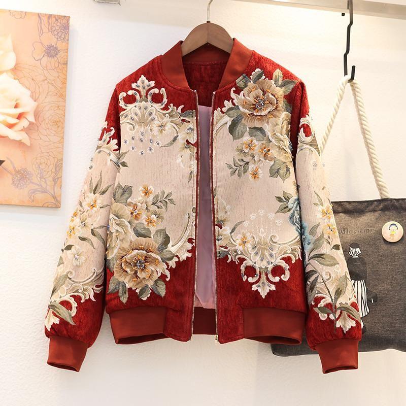 Frauen Herbst Mode Heavy Industry Nail Bead Baseball-Kleidung mit Perlen verziert Jacke 2020 Damen Blumen Pflanzen Stickerei dünne Mäntel