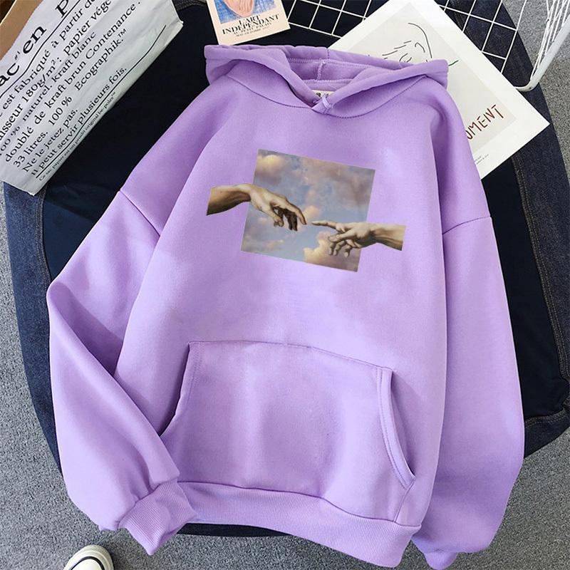 Mani stampa oversize Womens Hoodie Kawaii allentato Streetwear Felpe con cappuccio Donne Pullover semplice coreano stile caldo 201014