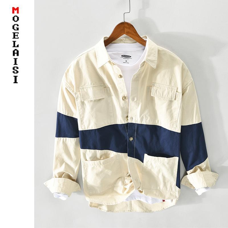 Camisa casual de hombres sólidos Nueva primavera manga larga 100% algodón tops de alta calidad camisas hombre ropa camisas masculina Z122