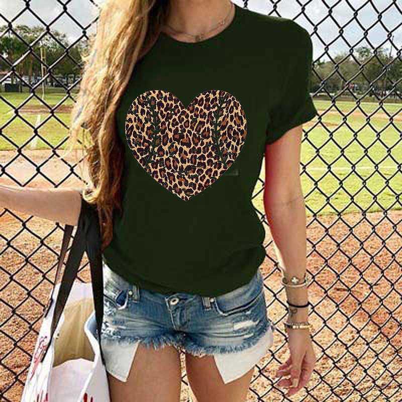 Camiseta para mujer camisetas 2021 Verano Mujeres Impresión de corazón T Shirt Béisbol Manga corta Cuello redondo Tops Casuales sueltos Harajuku Plus Sizeteos