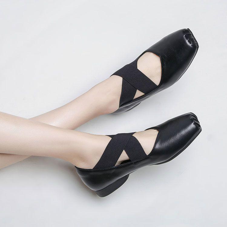 Size33-40 Toe Kayma Ayakkabı Taban Bağlanmış Bale Flats Loafer'lar Dansçı Elastik Antiskid Ayakkabı Kadınlar Kauçuk Squre Çapraz Kadın Tekne Ayakkabı Z Haja