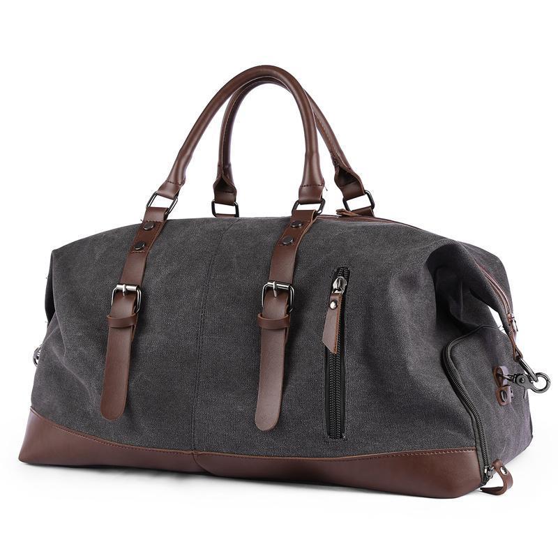Großhandel Qualität Frauen Mann Reisetaschen Gepäck benutzerdefinierte Leder Leinwand Reisetasche mit Schuhfach