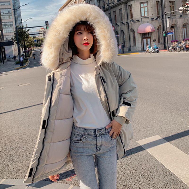 Kış Ceket Parkas Kış Yeni kadın Moda Büyük Kürk Yaka Kapşonlu Kalın Pamuk Aşağı Ceket Rus Kış Coat 201203