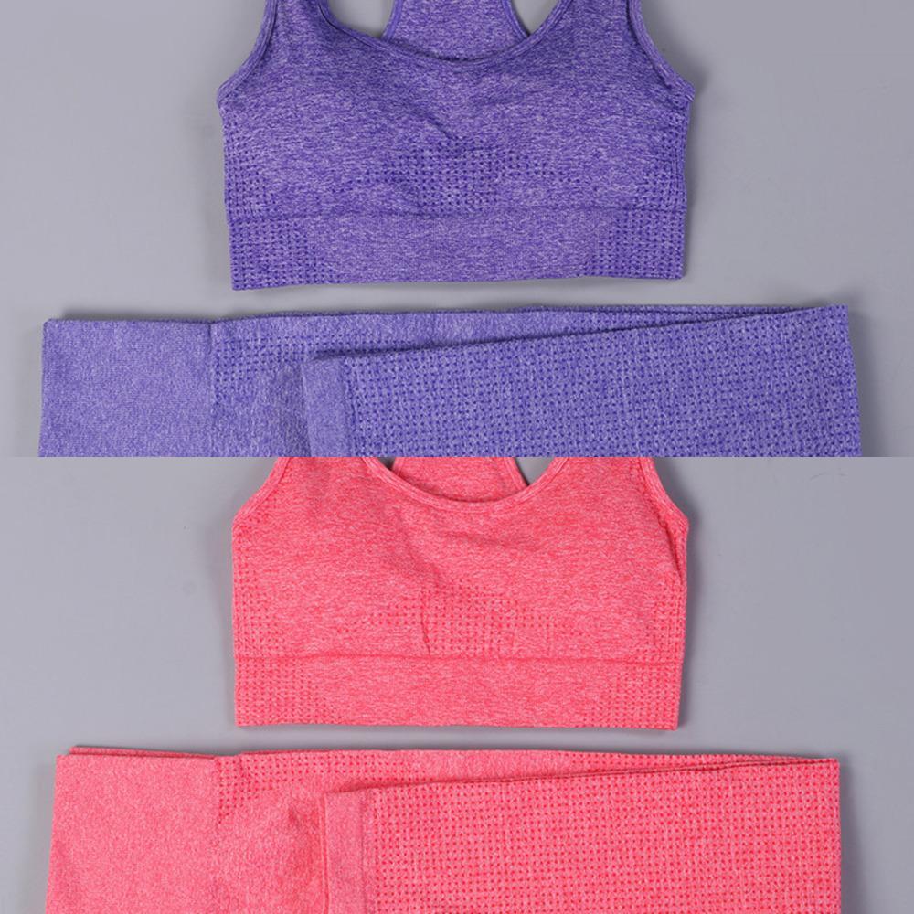 Femmes Vital Sans couture Yoga Ensemble Fitness Vêtements Haute taille Gym Leggings + rembourré Push Up Sports Bra Course de sport C0122