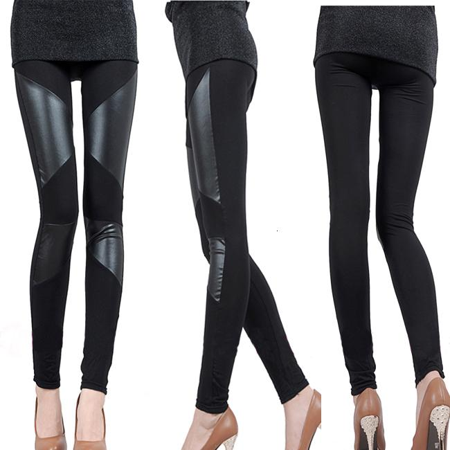 Sexy PU Autumn Slim Stitching and Leather Winter Leggings for Women,Splicing splice Wide Stretchy Elastic Waist TrousersXHA2UO