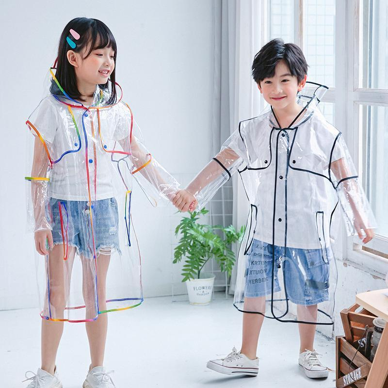Estilo 1pc Moda de alta calidad para niños Impermeable Transparente Long Boys Girls Clear Impermecoat Chaqueta con capucha Cuatro tamaños A Jlludd