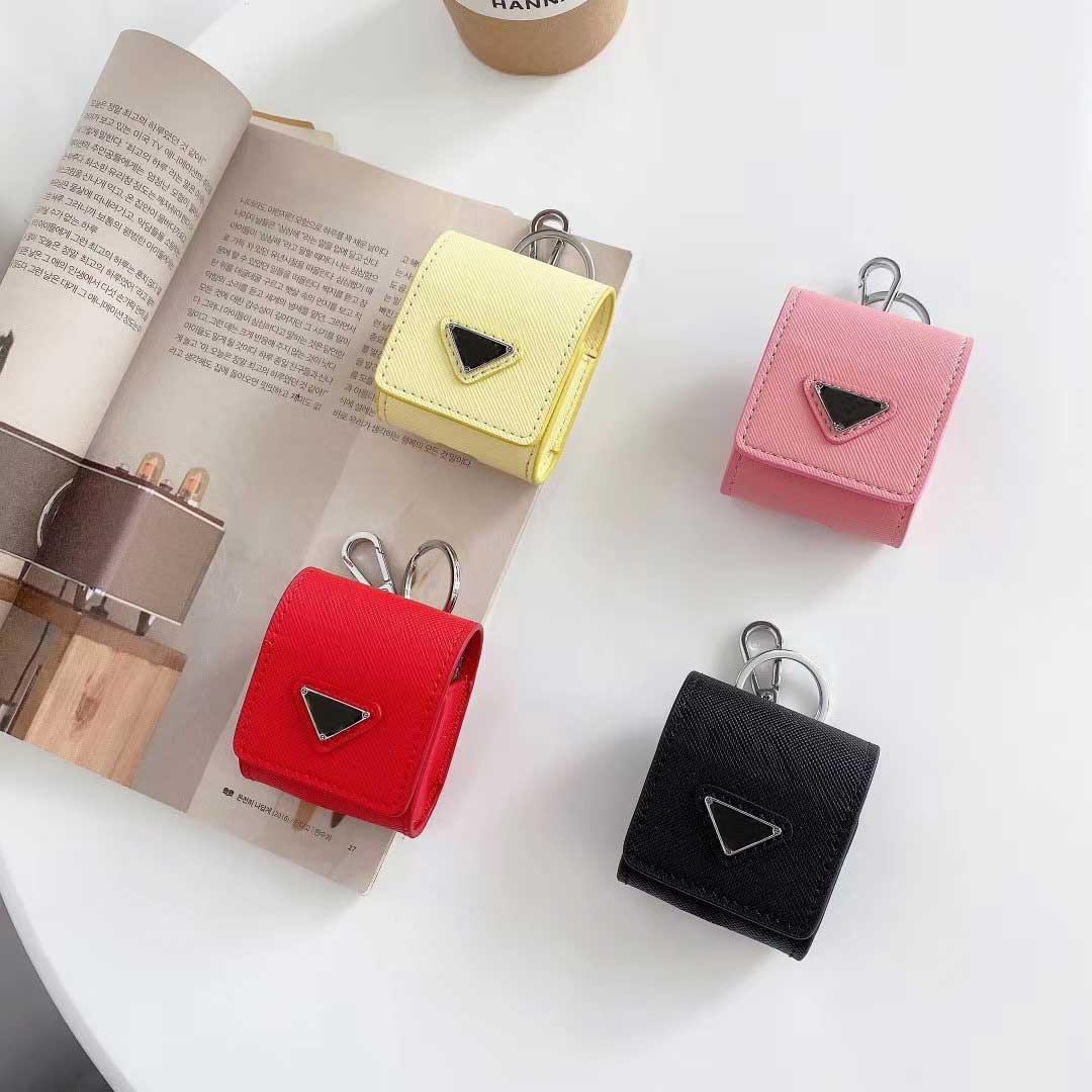 أزياء مصمم أزياء airpods حالة ظهره نمط 4 ألوان airpods حزمة مع نمط مثلث مقلوب مع سلسلة المفاتيح