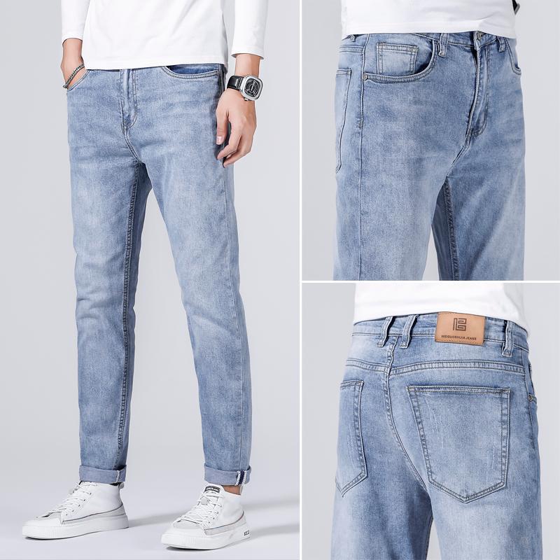 Mode confortable classique droite jeans printemps étirement de la marque vêtements de grande qualité coton automne jeune jean slim masculin nhjro