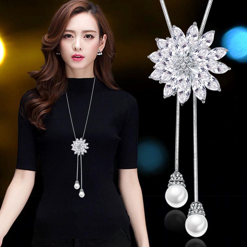 suéter cadena larga 2020 nueva versátil accesorios de vestir de otoño e invierno de las mujeres simples de alto grado collar colgante de adorno