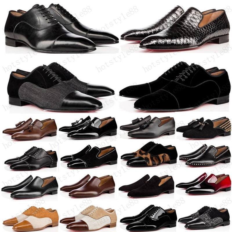 Новые 2020 Мужские Обувь Мокасиц Черный Красный Спайк Патентная Кожаная скольжение на платье Свадебные Квартиры Нижняя Обувь для деловой вечеринки Размер 39-47