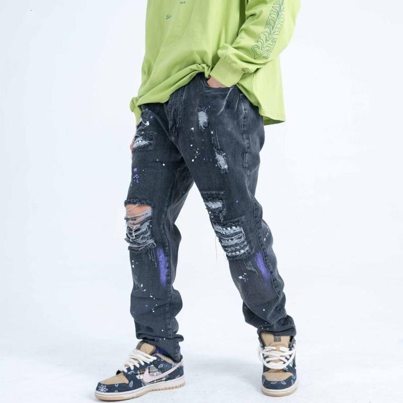 AprilMOMO Loch Patchwork beiläufige Hosen der Männer 2020 Harajuku Graffiti Ink Street Denim Jeans Hip Hop Jogger Herren-Hosen