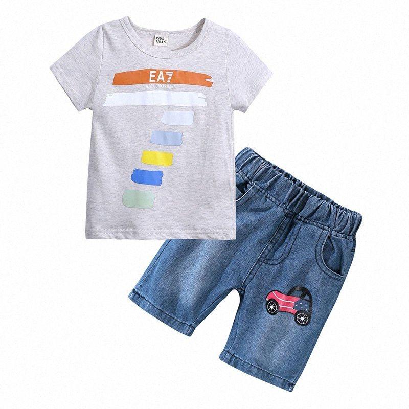 Bambini di modo dei ragazzi di estate dei vestiti del bambino dei vestiti del ragazzo manica corta Top + Jean breve cartone animato per bambini Abbigliamento 1-6 anni 6uKy #