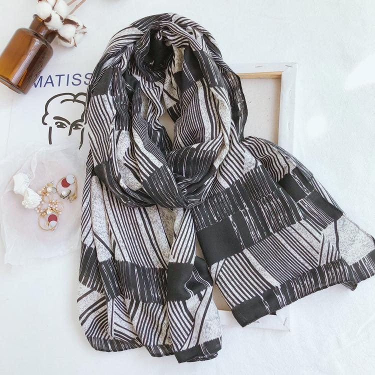 2021 Herbst Winterstreifen Print Scalves Tücher Wrap Frauen Weiche lange Schal Schalldämpfer Hijab Beach Stirnband Freies Verschiffen