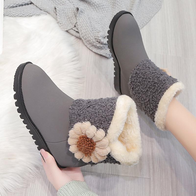 Botas de talón plano tacón redondo para mujer zapatos de otoño botas-mujeres calzado de invierno australia caucho de cuero bajo cuero wedge 2021