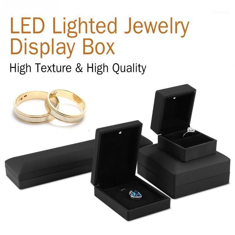 LED Lighted Jewelry Box Ring/Pendant/Bracelet/Necklace Jewelry Display Case Gift Storage Box 4Types Wedding Engagement Ring1