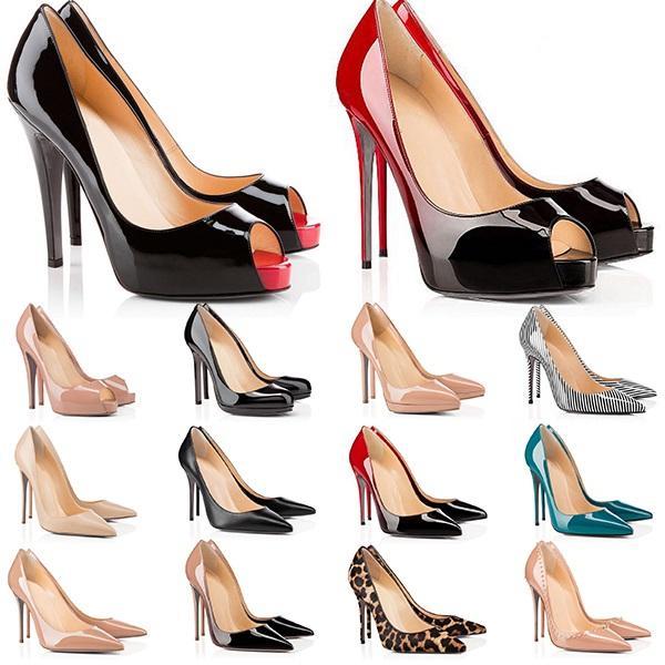 Moda Yüksek Topuklu Kırmızı Dipler Bayan Topuk 8 10 12 cm Hakiki Deri Noktası Toe Pompaları Kauçuk Düğün Ziyafet Elbise Ayakkabı