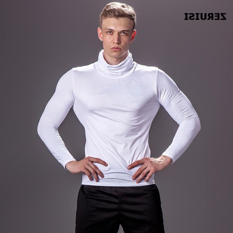 Сплошной цвет с высоким воротником сжатые рубашки мужские бодибилдинг бегущие футболки спортивные тренажеры фитнес-топы туго рашгард тройник