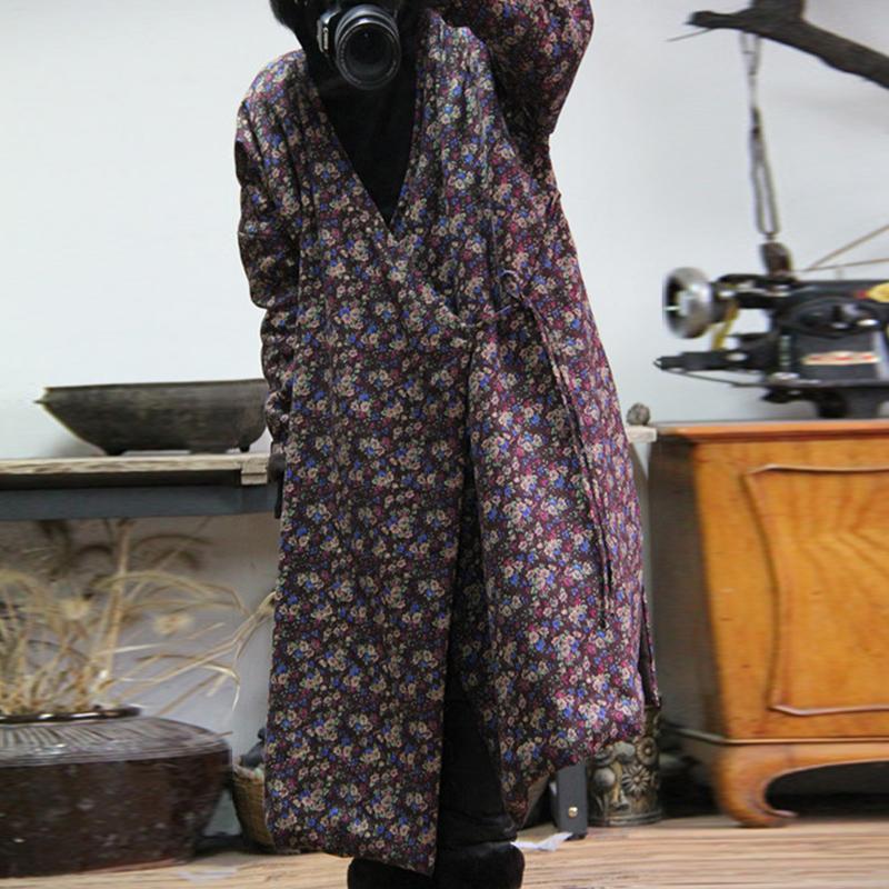 Parkas Cotton Johnature Mulheres Vintage Coats Primavera New solto simples impressão de cores quentes Belt Cotton V-neck casacos longos 201014