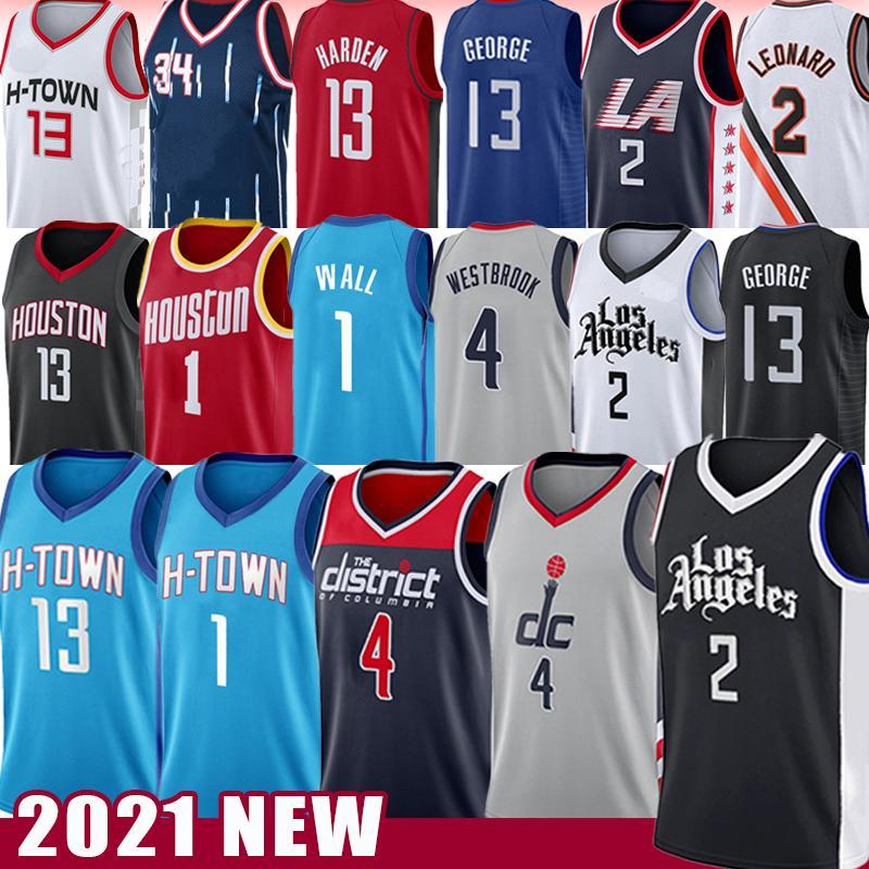 Kawhi 2 John 1 Wall Leonard Russell 4 Westbrook كرة السلة جيرسي 2021 بول 13 جورج هاردن حكيم 34 Olajuwon الرجعية LOS 2021 أنجلوس جديد