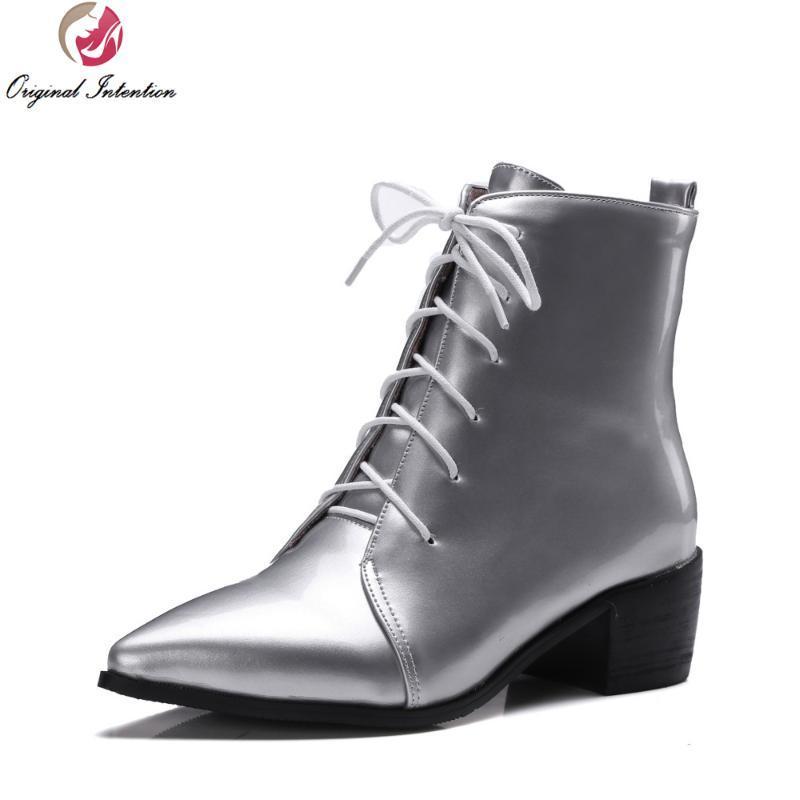 Botas Intenciones Originales Super Moda Mujeres Tobillo puntiagudo Punta Cuadrado Tacones Negro Gray Silver Zapatos Mujer Tamaño de los EE. UU. 4-15