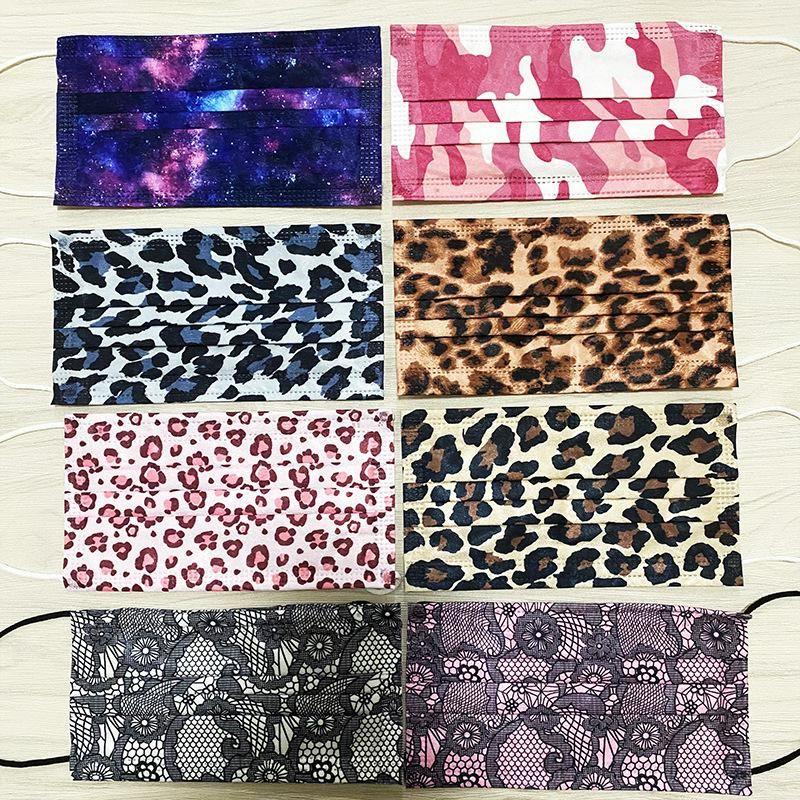 Три слоя Leopard кружева звездного неба одноразовых маски защитных маски с плавильно-спрей персонализированные печати дизайнерских масок BWB2503
