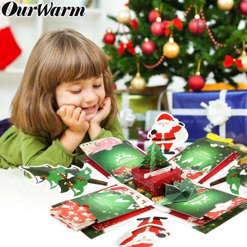 OurWarm Noel Hediyesi Kutusu Yaratıcı Patlama Kutusu Scrapbook 15x15x15cm DIY El Yapımı Fotoğraf Sürpriz