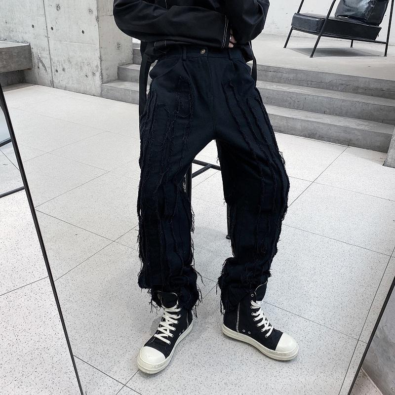 Hombres Broken Edge raya empalme recto ocasional de las bragas masculino Streetwear Hip Hop gótica Negro Blanco Pantalones Japón Harajuku Corea Pant